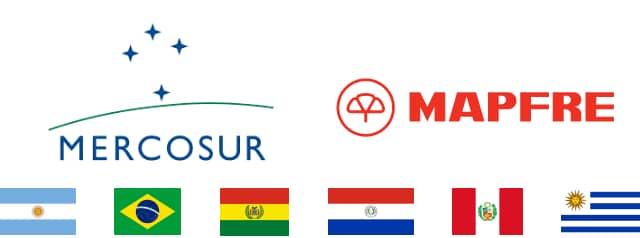 Imagen representativa del Seguro RCI mercosur transporte de carga, contiene la imagen corporativa del Mercosur y Mapfre junto a la bandera de Argentina, Brasil, Bolivia, Paraguay, Peru y Uruguay.